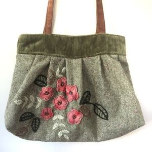 Pocko Super Cute Embroidered Pink & Green Handbag